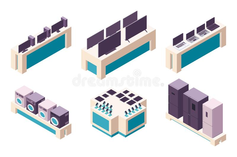 Isometric 3d collection isolated urban element of electronics store. stock illustration