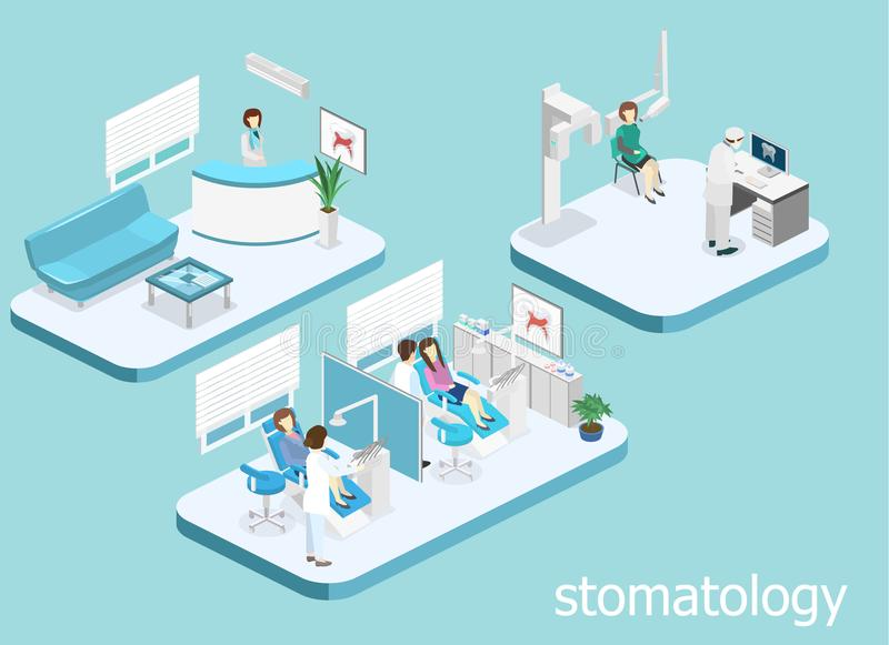 Dental Clinic. flat interior of dentist`s office. Isometric 3D concept cutaway interior of a Dentistry waiting room. Dental Clinic. flat interior of dentist`s royalty free illustration