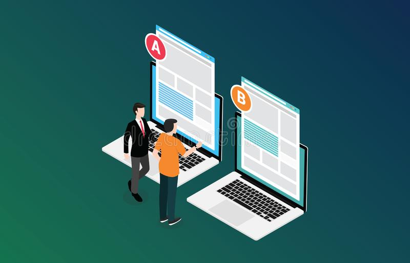 Isometric 3d design ab a b split testing concept with two business men compare test result between 2 page of website design stock illustration