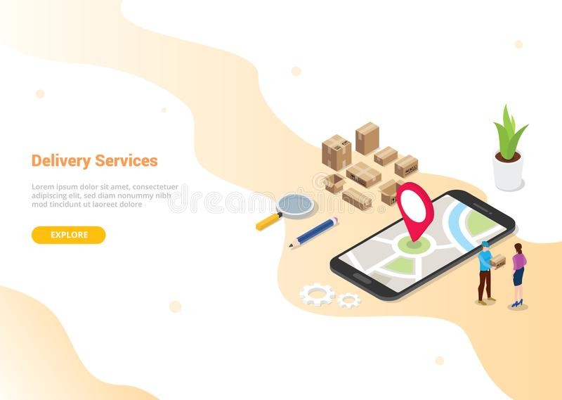 Isometric 3d doręczeniowej usługi online pojęcie z ludźmi dostarcza rozkaz dla strona internetowa szablonu projekta lub desantowe ilustracja wektor