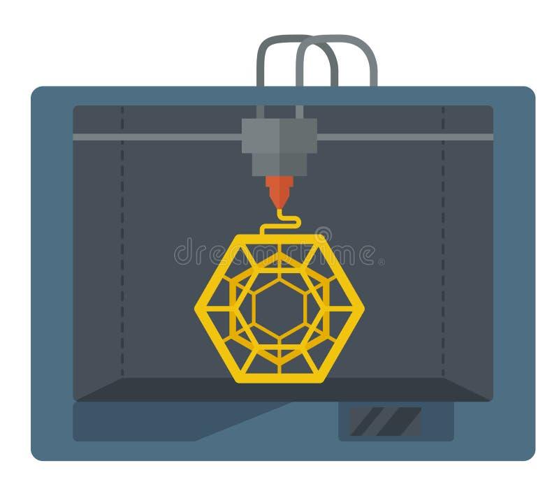 Isometric 3D drukarka na białym tle royalty ilustracja