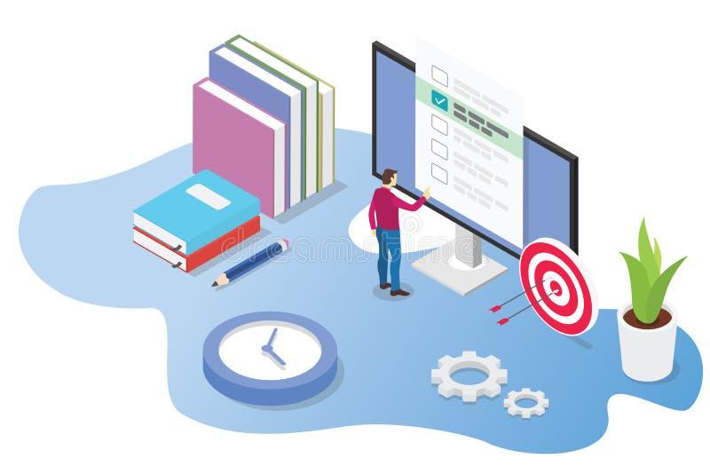 Isometric 3d egzaminu, kursu online poj?cie z lub - wektor ilustracja wektor