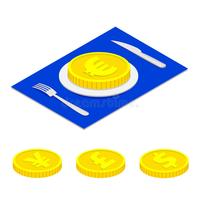 Isometric 3d euro coin on plate. With a set dollar, yen and pound. vector illustration