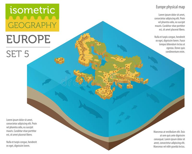 Isometric 3d Europe physical map constructor elements on the water surface. Build your own geography infographics collection. Vector illustration royalty free illustration