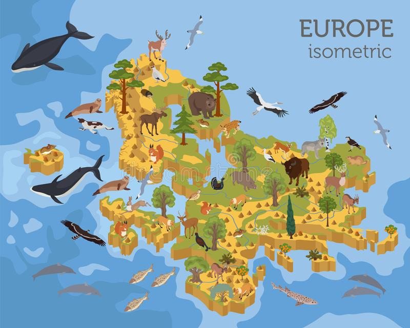 Isometric 3d European flora and fauna map constructor elements. Animals, birds and sea life isolated on white big set. Build your own geography infographics royalty free illustration