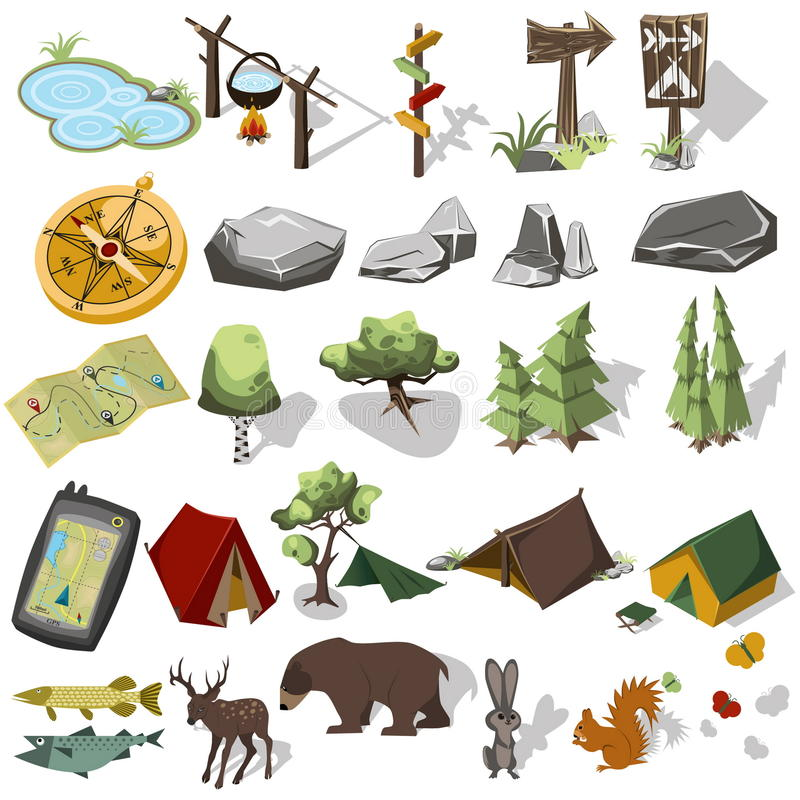 Isometric 3d forest hiking elements royalty free illustration