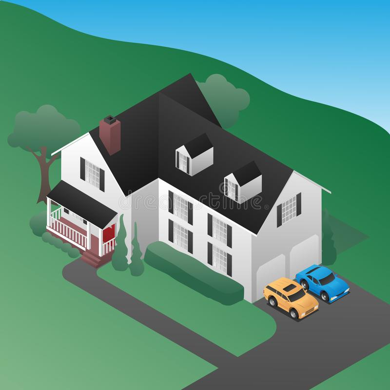 Isometric 3D House Vector Illustration. Beautiful suburban country colonial style single family home in a peaceful setting vector graphic illustrated in stock illustration