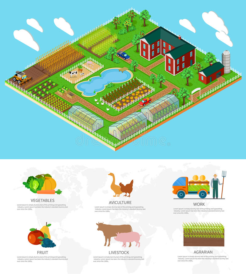 Isometric 3d Icon Flat Farm Agriculture stock illustration