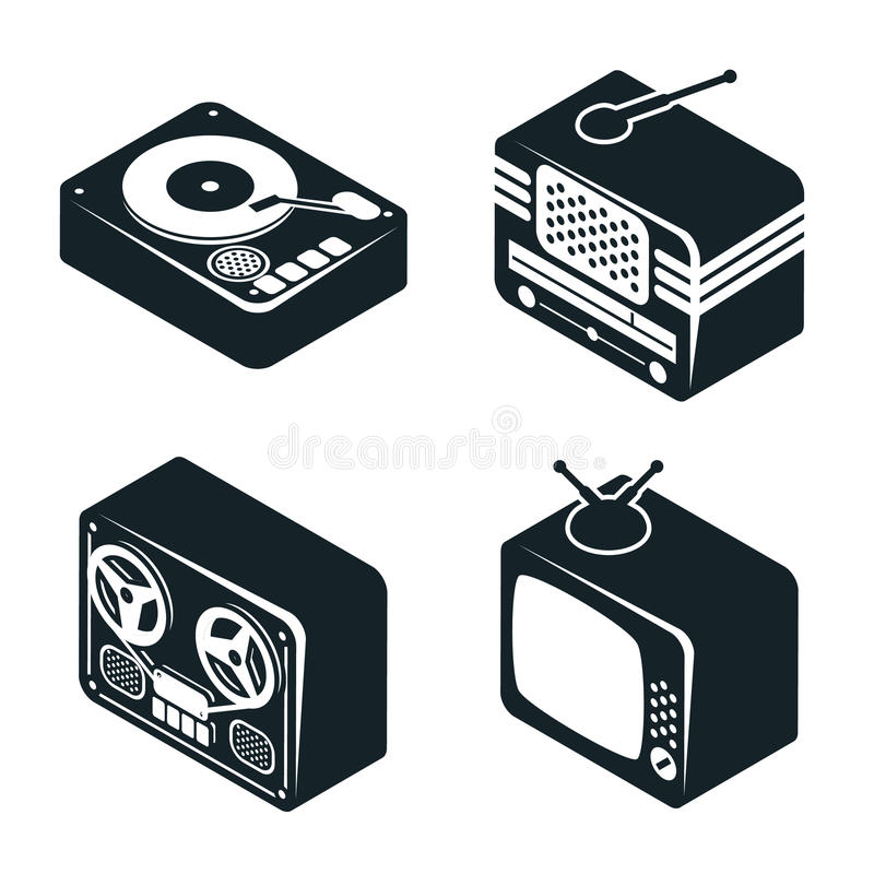 Isometric 3D Icons of Retro Media Devices. Set of 3D Isometric Icons of Retro Media Devices in Black and White Color on White Background vector illustration