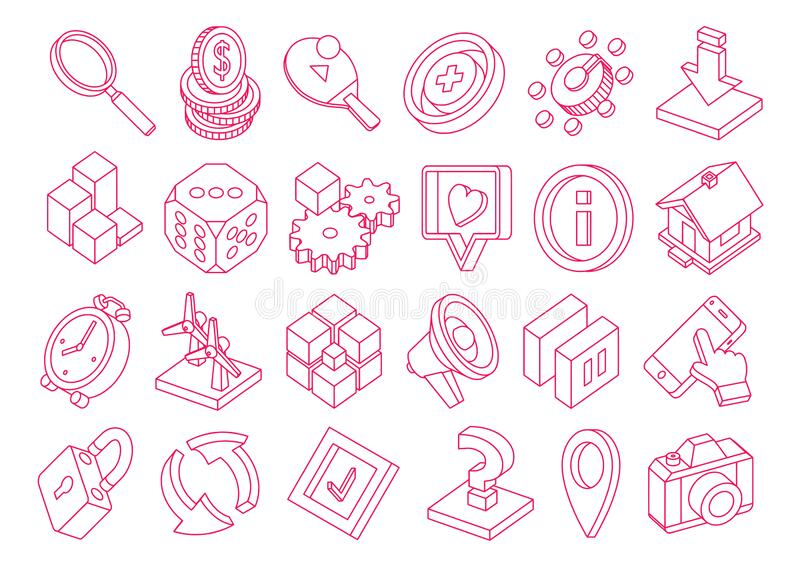Isometric 3d icons set Various conceptual symbols for presentation, application or user interface Outline style icons illustrazione vettoriale