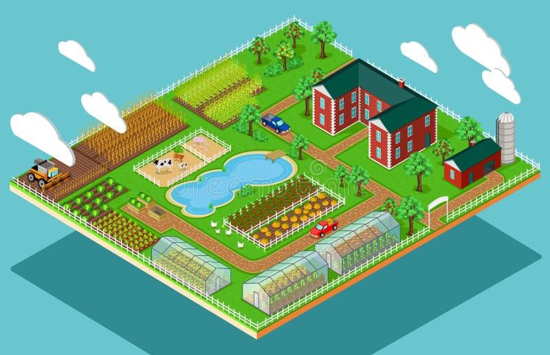 Isometric 3d ikony mieszkania gospodarstwa rolnego rolnictwo ilustracji