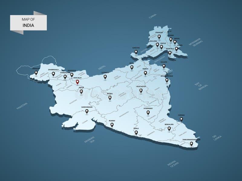 Isometric 3D India mapy wektorowy pojęcie ilustracja wektor