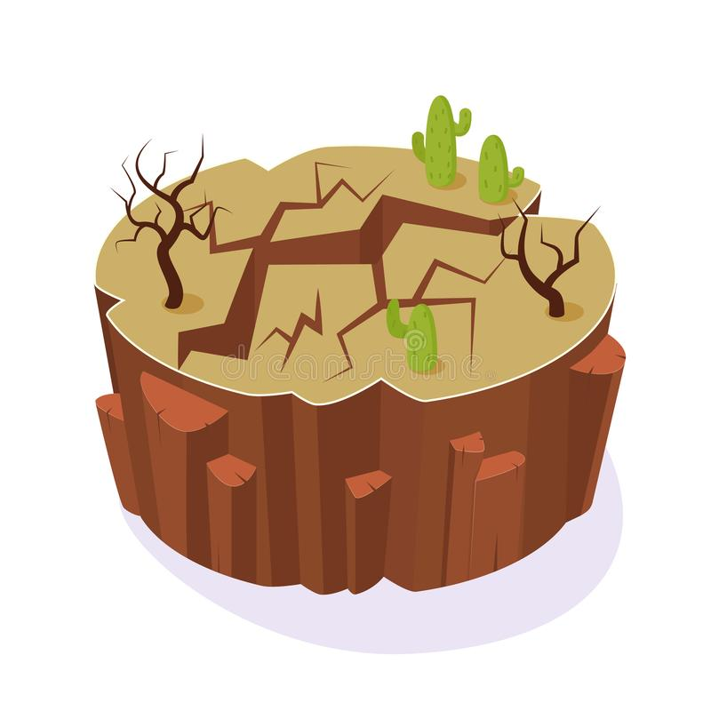Isometric 3D island game, gaming environment, dry ground earth landscape. vector illustration