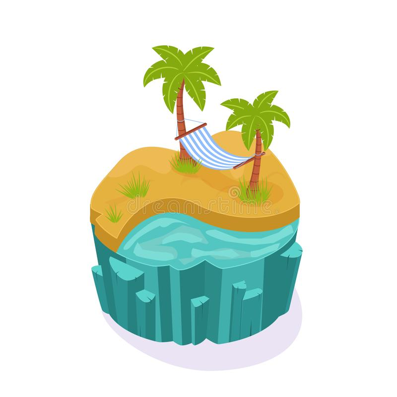 Isometric 3D island game, with landscape sand, ocean water. Isometric 3D island game, with landscape of the earth. Element of gaming environment, visual stock illustration