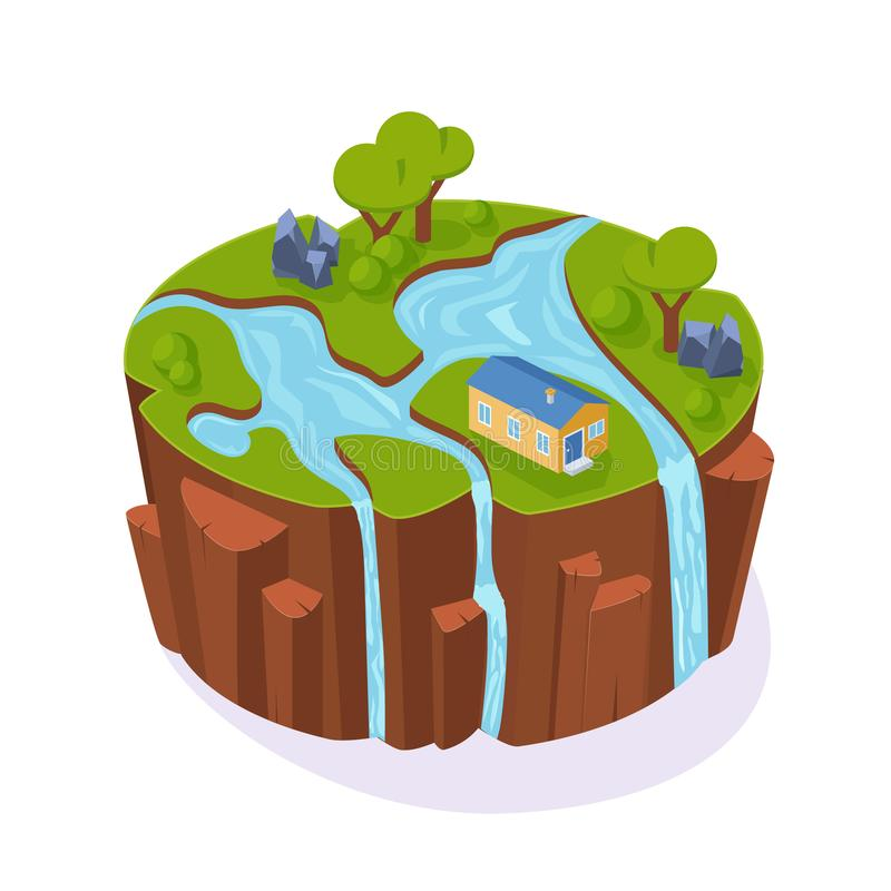 Isometric 3D island game, landscape soil, with river, grass, trees. Isometric 3D island game, with landscape of earth. Element of gaming environment, visual royalty free illustration