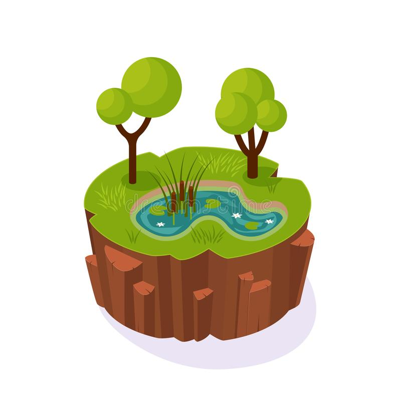 Isometric 3D island game, landscape soil, with river, swamp, trees. Isometric 3D island game, with landscape of earth. Element of gaming environment, visual stock illustration
