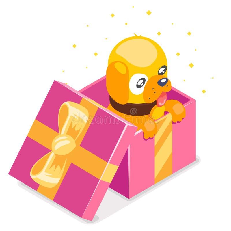 Isometric 3d kreskówki dziecka żółtego psa lisiątka prezenta śliczny pudełko 2018 rok projekta ikony charakteru wektoru płaska il ilustracji