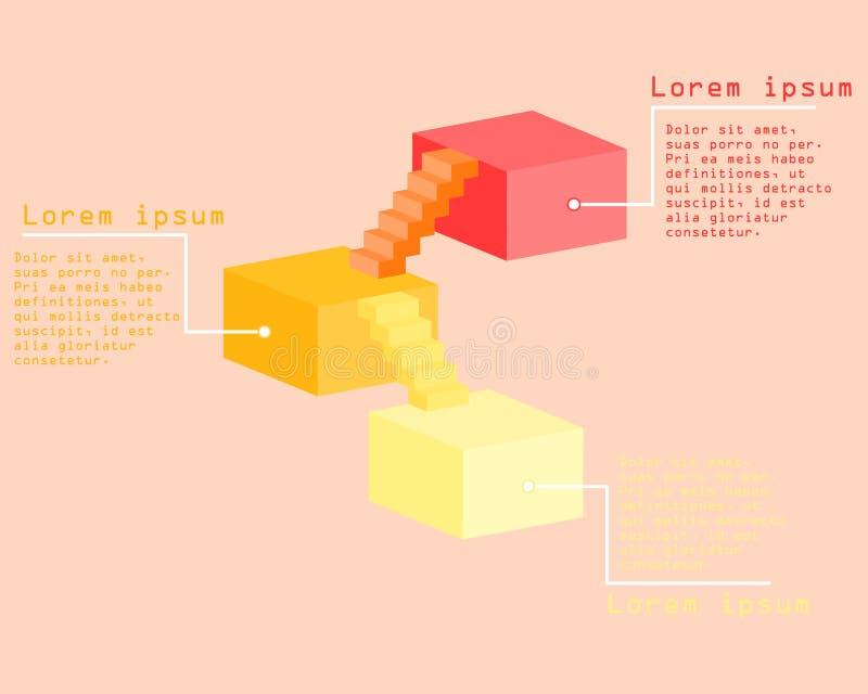 Isometric 3D kwadrata i schodków kroka drabina infographic royalty ilustracja