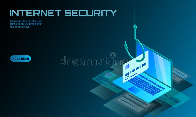 Isometric 3D laptop credit card cvv password phishing. Personal information account email online scam hacker. Spam. Isometric 3D laptop ormation account email vector illustration