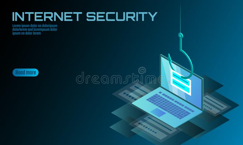 Isometric 3D laptop login password phishing. Personal information account email hacker. Spam antivirus internet security vector illustration