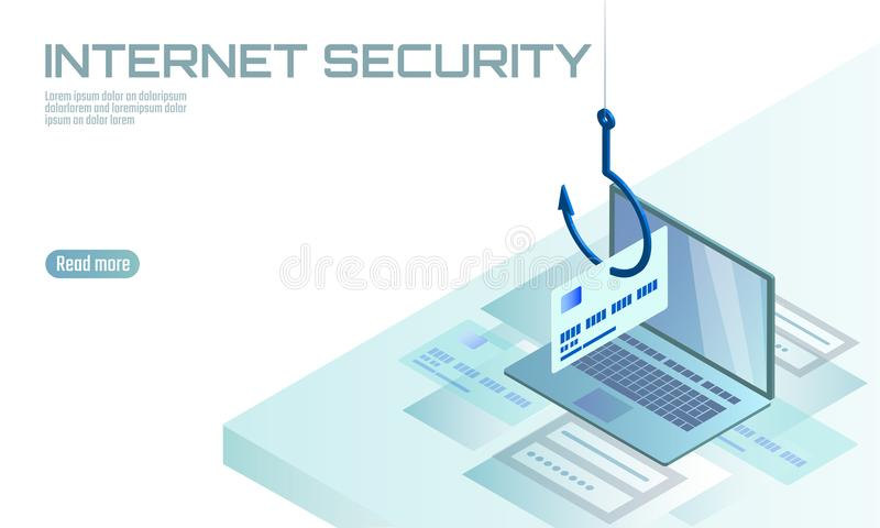 Isometric 3D laptop credit card cvv password phishing. Personal information account email online scam hacker. Spam. Isometric 3D laptop ormation account email stock illustration