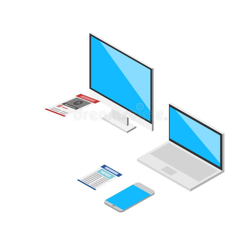 Isometric 3d laptop, tablet, smartphone, computer screen responsive web design vector elements. Isometric modern computer set vector illustration. Dark blue royalty free illustration