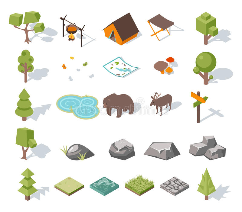 Isometric 3d lasowi campingowi elementy dla krajobrazu royalty ilustracja
