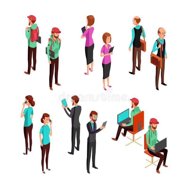 Isometric 3d ludzie biznesu odizolowywający Biurowy mężczyzna i kobiety pracy zespołowej wektoru fachowy set royalty ilustracja