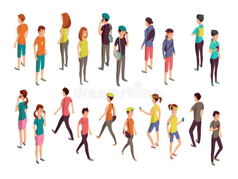Isometric 3d ludzie Młody przypadkowy persons wektoru set royalty ilustracja