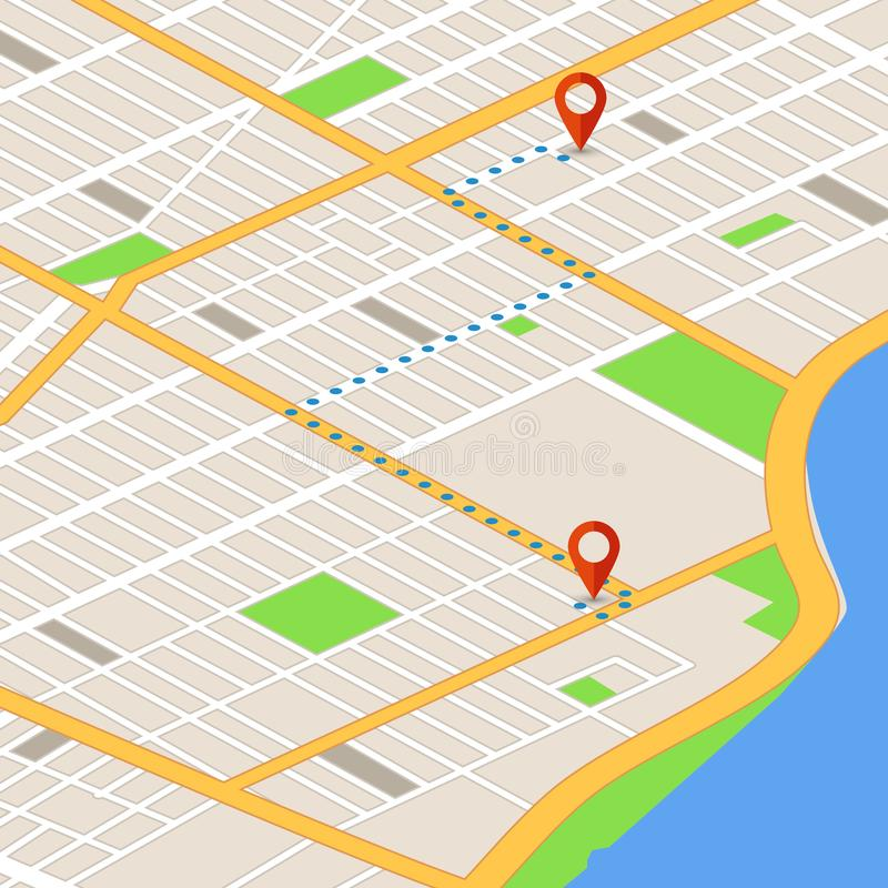 Isometric 3d map with location pins. Gps navigation vector background stock illustration