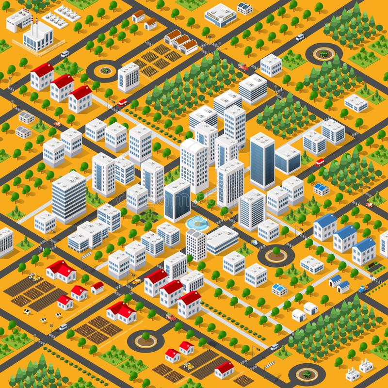 Isometric 3D megapolis. City structure seamless pattern with streets, houses, trees and transport vector illustration