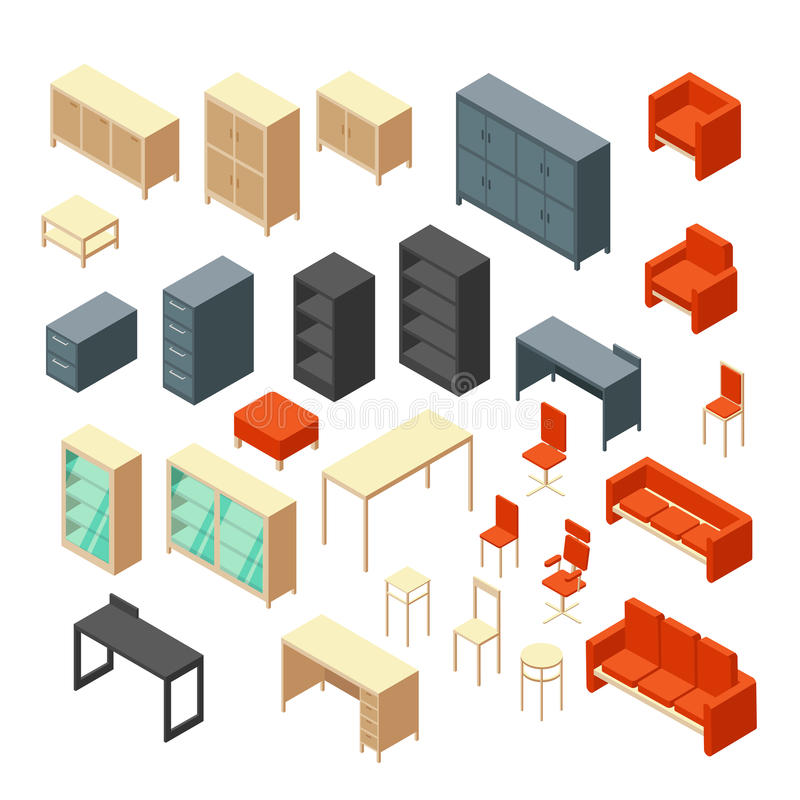 isometric office furniture vector collection. Download Isometric 3d Office Furniture Isolated. Interior Elements Vector Set Stock - Illustration Of Collection T