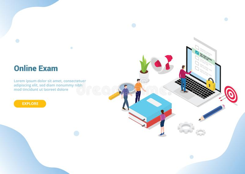 Isometric 3d online exam or course concept for website template banner landing homepage - vector vector illustration