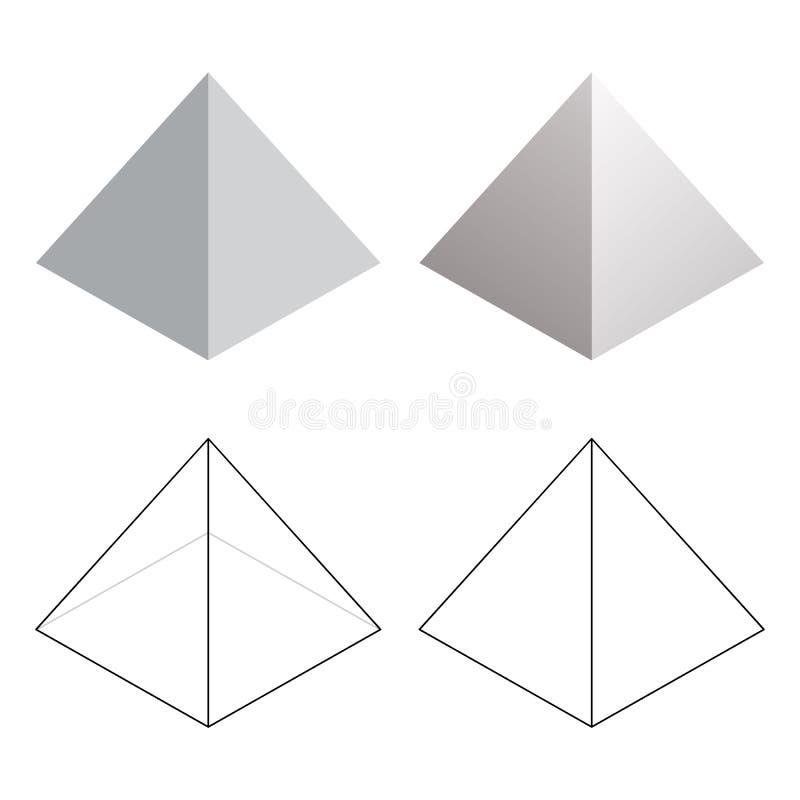 Isometric 3d ostrosłupa trójbok Kształtuje Wektorową ilustrację ilustracja wektor