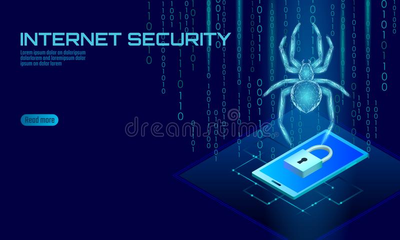 Isometric 3D pająka hackera ataka niebezpieczeństwo Sieci ochrony wirusowych dane antivirus zbawczy pojęcie Smartphone kędziorka  ilustracji