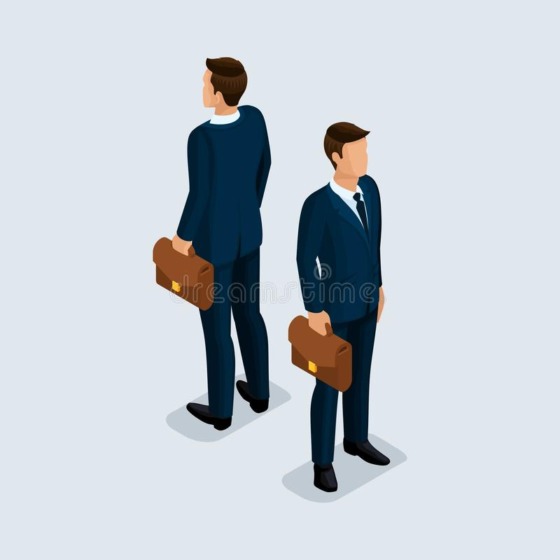 Isometric 3D people, businessman, of a corporate clothes, beautiful shoes, bag, hairstyle. Front view rear view isolated on a. Light background stock illustration