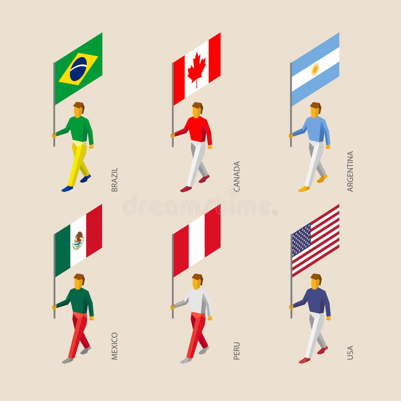 Isometric 3d people with flags. Canada, USA, Argentina, Peru, Br royalty free illustration