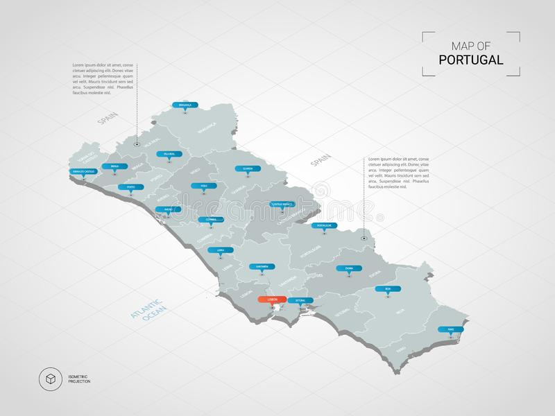 Isometric Portugal map with city names and administrative divisions. stock illustration