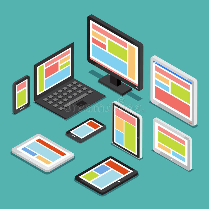 Isometric 3D responsive web design concept with different screens and electronic devices vector illustration