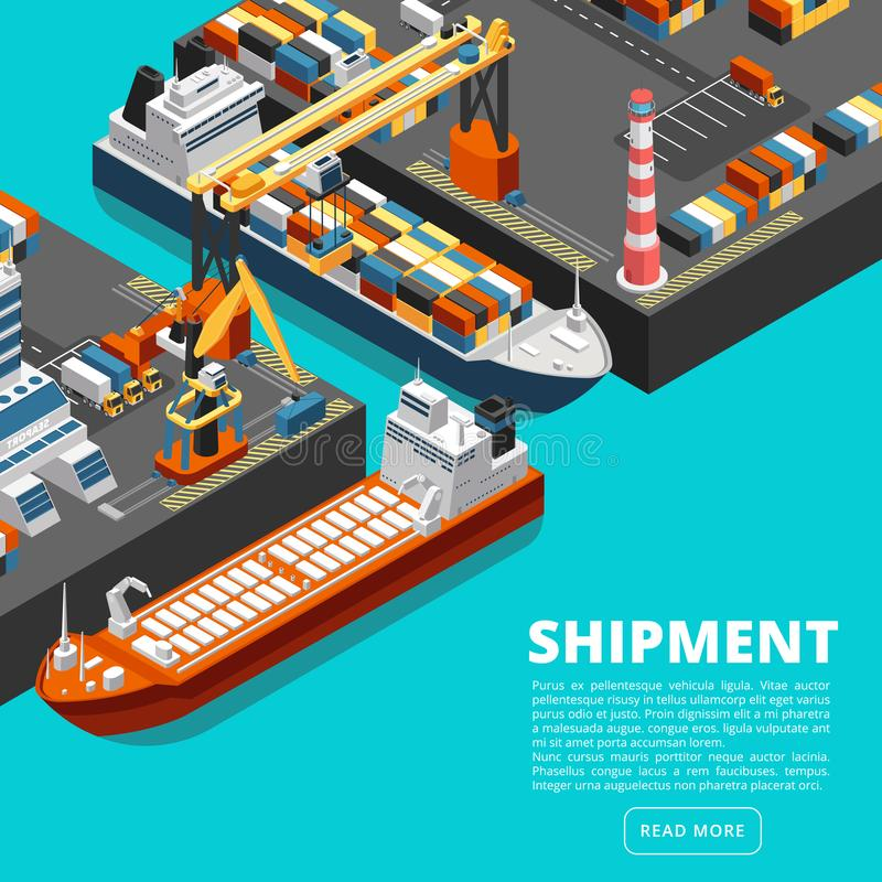 Isometric 3d seaport terminal with cargo ships, cranes and containers. Shipping industry vector concept stock illustration