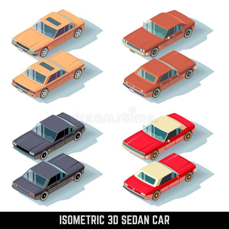 Isometric 3D sedanu samochód, miasto przewiezione wektorowe ikony royalty ilustracja
