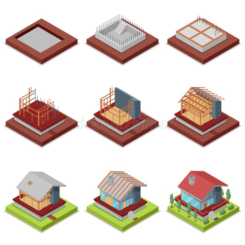 Isometric 3D set construction stages of house. Isometric 3D set construction stages of countryside house. Foundation pouring, construction of walls, roof vector illustration