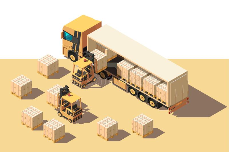 Isometric 3d shipment truck with forklift and box for delivery moving. stock illustration