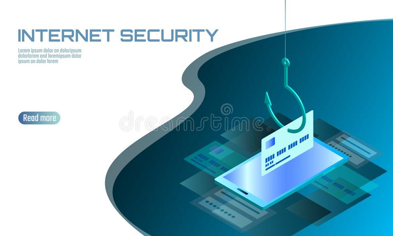 Isometric 3D smartphone credit card cvv password phishing. Personal information account email online scam hacker. Spam. Antivirus internet security spam concept royalty free illustration