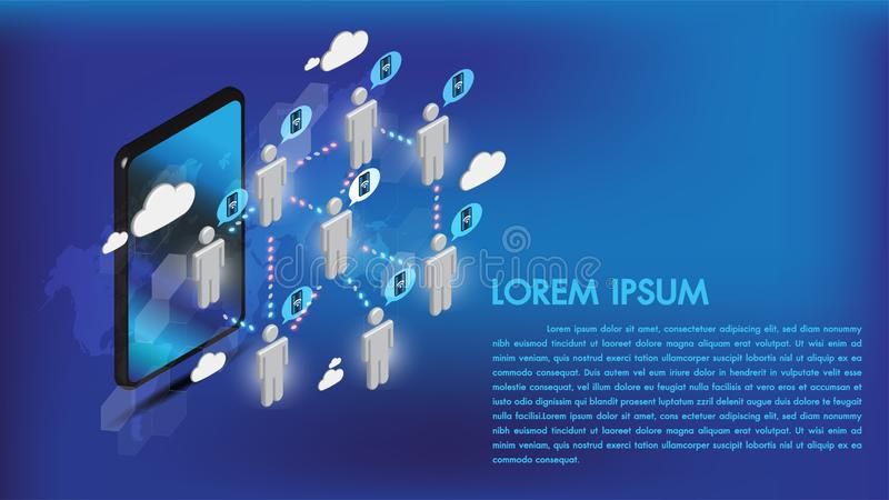 Isometric 3d smartphone internet łączy ogólnospołecznych środki z ludźmi i dane przekazem na obłocznej składowej sieci telekomuni royalty ilustracja