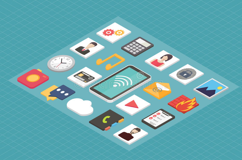 Isometric 3d smartphone with mobile applications royalty free illustration