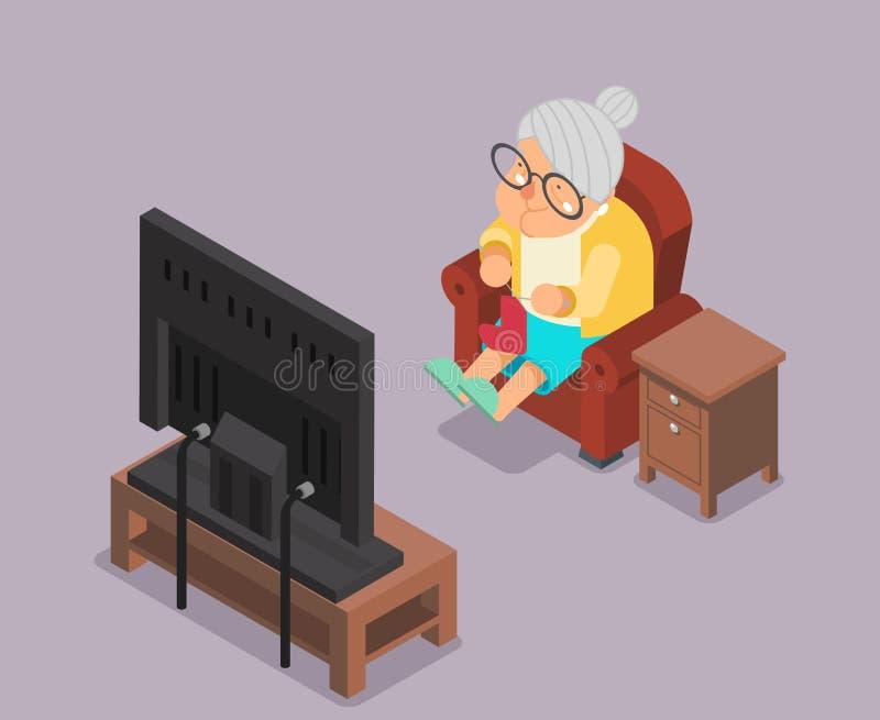 Isometric 3d Stara dama Ogląda TV Siedzi karła postać z kreskówki projekta wektoru Płaską ilustrację royalty ilustracja