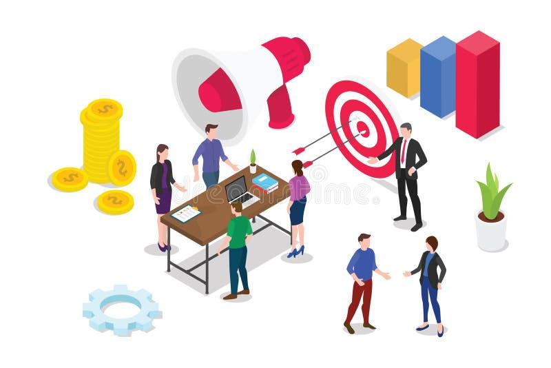 Isometric 3d strategii biznesowej pojęcie z drużynowymi ludźmi pracuje wpólnie debatę i dyskutuje z wykresu raportem - wektor royalty ilustracja