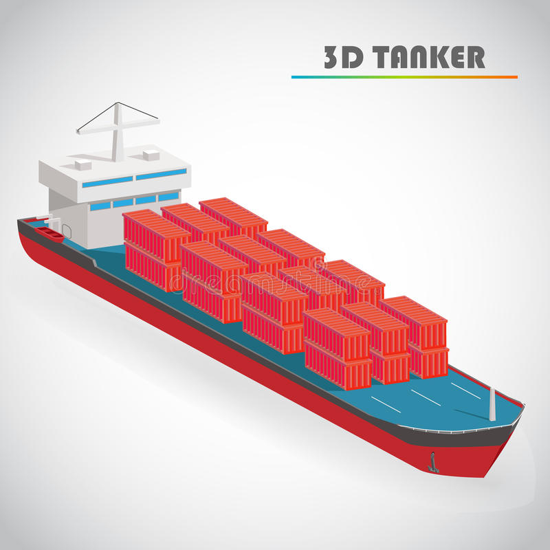 Isometric 3d tanker with freight container icon vector illustration