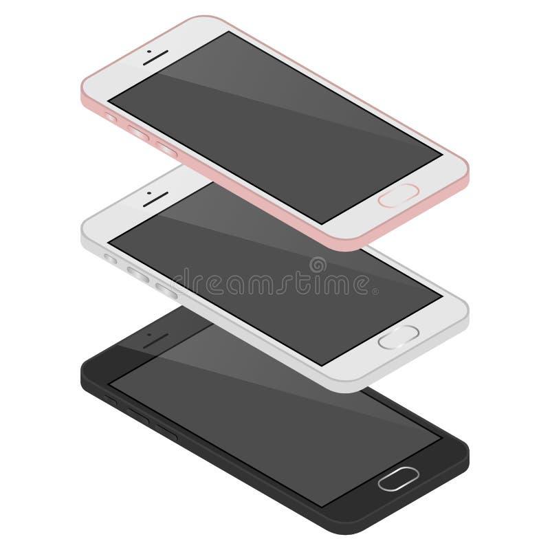 Isometric 3d telefon komórkowy z różnym kolorem, technologia nowy mądrze telefon, Illustratio royalty ilustracja